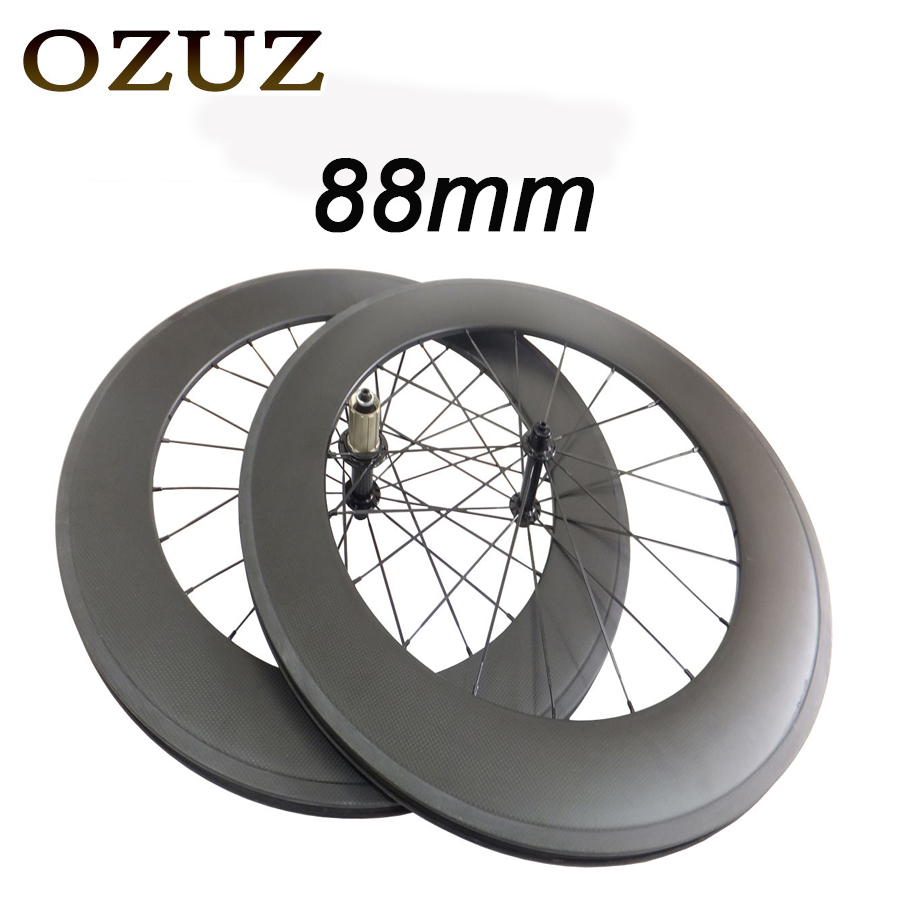 T700 Powerway R13 Hub OZUZ 88mm Carbon Wheels Road Bike Bicycle Clincher with alloy nipple 3K Carbon Fiber Wheel Light Wheelset sobato bikes wheel carbon road wheels bicycle chinese oem wheelset 38mm clincher or tubular powerway r13 hub