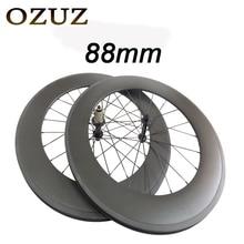 T700 Powerway R13 Hub OZUZ 88mm Carbon Wheels Road Bike Bicycle Clincher with alloy nipple 3K Carbon Fiber Wheel Light Wheelset