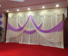 Wedding Backdrop Curtains (10ft*20ft) Romantic White Purple Curtain with Swag for Wedding Decoration Ice Silk Stage Backdrop