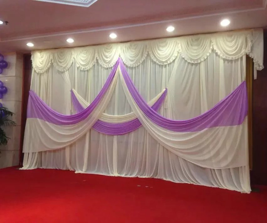 Wedding Backdrop Curtains (10ft*20ft) Romantic White Purple Curtain With  Swag For Wedding