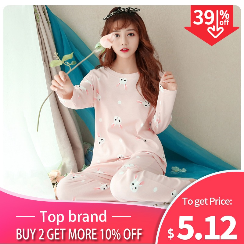 acb3c0f31ce59 JULY'S SONG Women Pajamas Set Spring Autumn New Thin Cartoon Printed Long  Sleeve Cute Sleepwear Casual