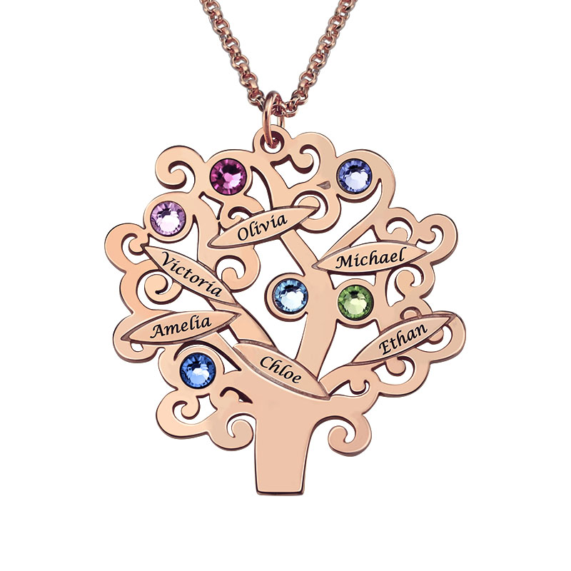 Rose Gold Color Family Tree Necklace Mother's Necklace with Birthstone Grandmas Gift Custom Gift for Mother engraved family tree bracelet with birthstones rose gold color disc mother