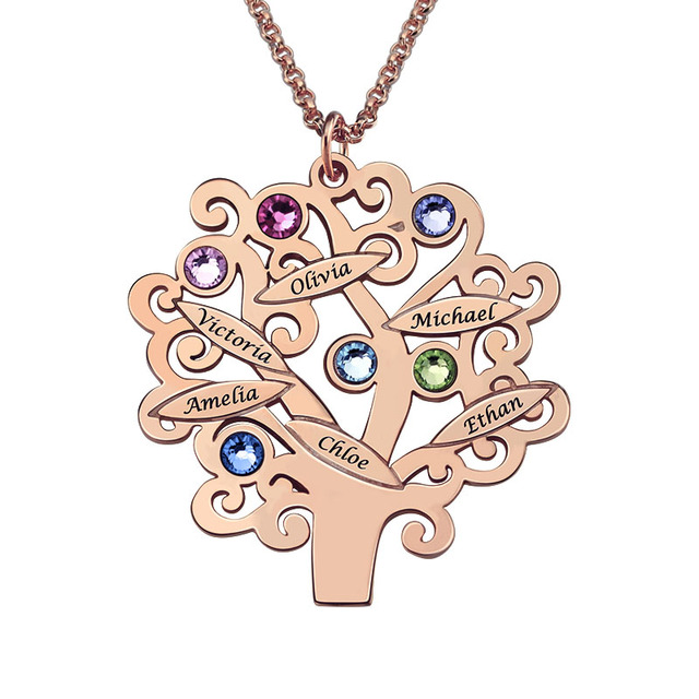 Rose gold color family tree necklace mothers necklace with rose gold color family tree necklace mothers necklace with birthstone grandmas gift custom gift for mother aloadofball Gallery
