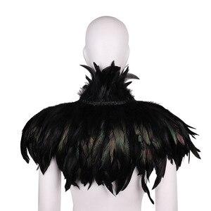 Image 2 - ファッション黒ヴィンテージゴシックビクトリア朝ナチュラルフェザー岬ショールとポンチョケープラップローブはチョーカー襟ハロウィン仮装パーティー