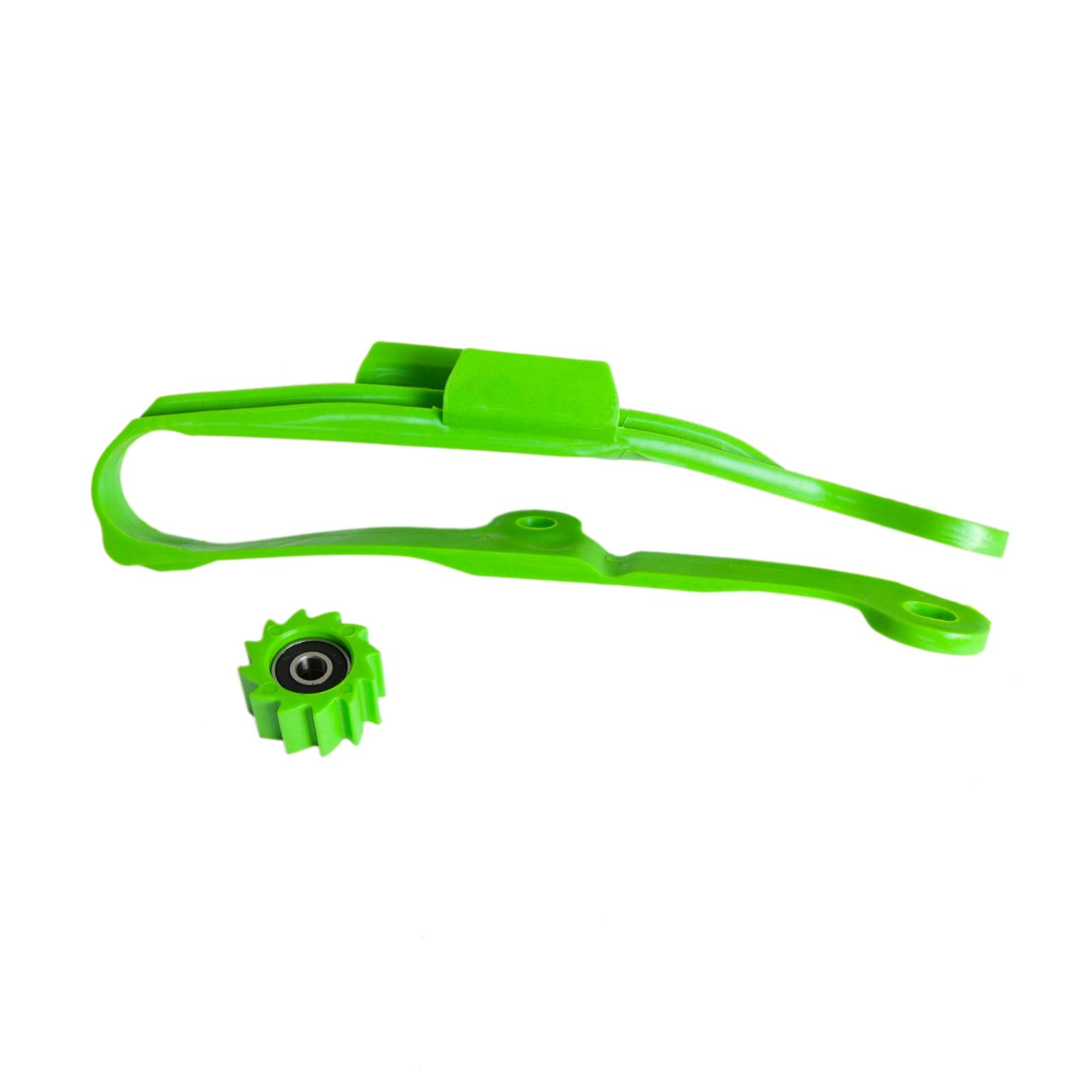 Green Chain Slider With Lower Roller For Kawasaki KX250F 06-16 KX450F 06-15