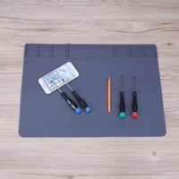 49x35cm Soldering Station Iron Phone PC Computer Repair Mat Heat Insulation Silicone Pad Electronic Maintenance Desk