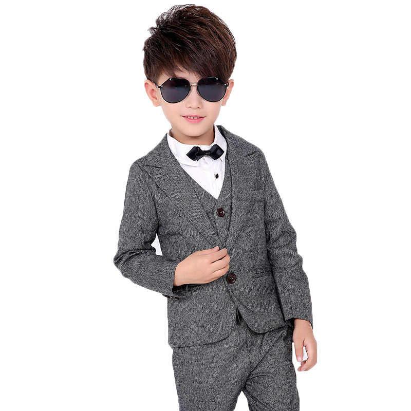 2019 г. праздничный вечерний костюм с блейзером с цветочным принтом для мальчиков детские брюки с жилеткой, комплект одежды из 3 предметов, детский Свадебный костюм-смокинг