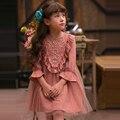 Muchachas de la marca de otoño ropa nueva para bebés de manga larga vestido de los niños vestido de princesa kids flare manga de encaje velo vestidos