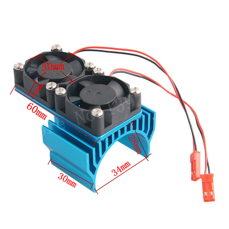 RC Parts 540 550 Electric Motor Heat Proof Cover Heatsink Heat Sink Double Cooling Fan 7019 30mm*30mm 5V For 1/8 1/10 Scale JST the original delta 6056 double motor 6cm high speed turbo fan violence 12v 1 92a gfc0612ds cooling fan free shipping