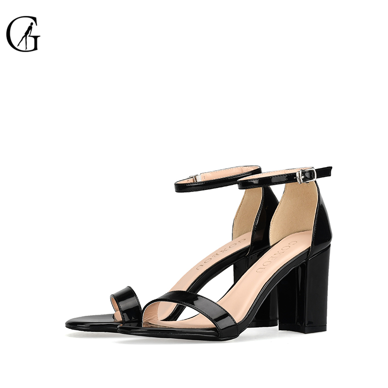 GOXEOU 2019 Women Sandals Round Toe Square Heel High Heels Sexy Lace up Bling Wedding Office