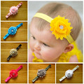 Caliente venta venda del bebé 28 unids/lote 14 colores shabby flores con botón del rhinestone hairband chica niños adornos de pelo