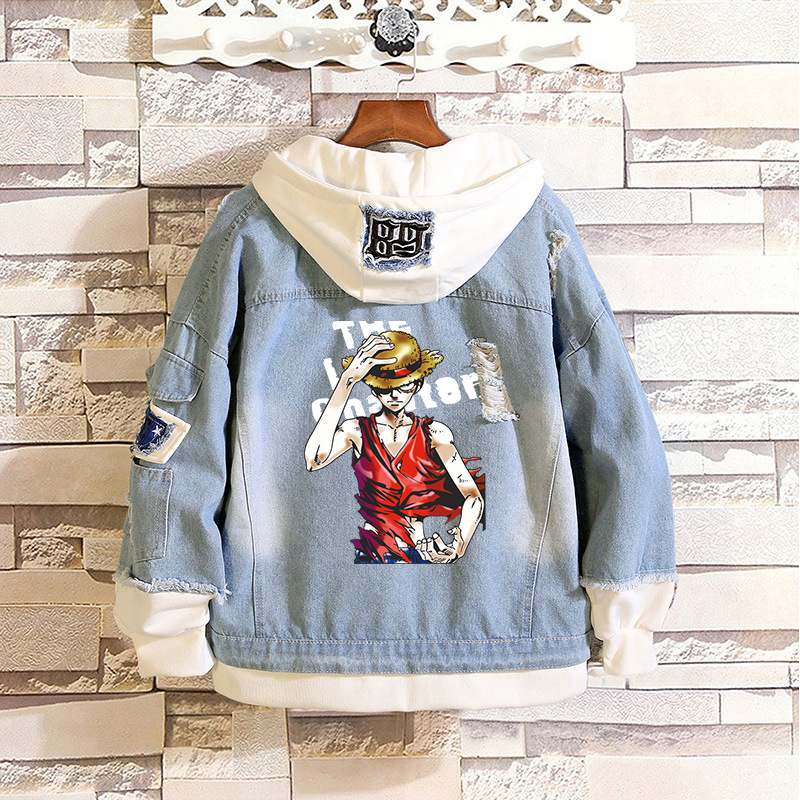 Hoodies & Sweatshirts Men Women Jeans Jacket Coat Anime One Piece Monkey Luffy Pullover Hoodies Outwear Sportswear Streetwear Cosplay Costume Clothes Numerous In Variety