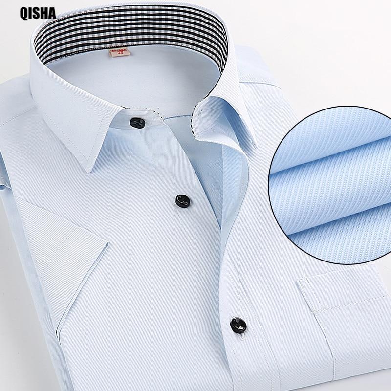 QiSha moe mehed pluusid stiilne lühike varrukas suve särgid - Meeste riided - Foto 1