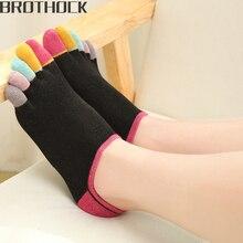 Brothock Factory direct women yoga socks cotton finger female color short tube breathable five toe