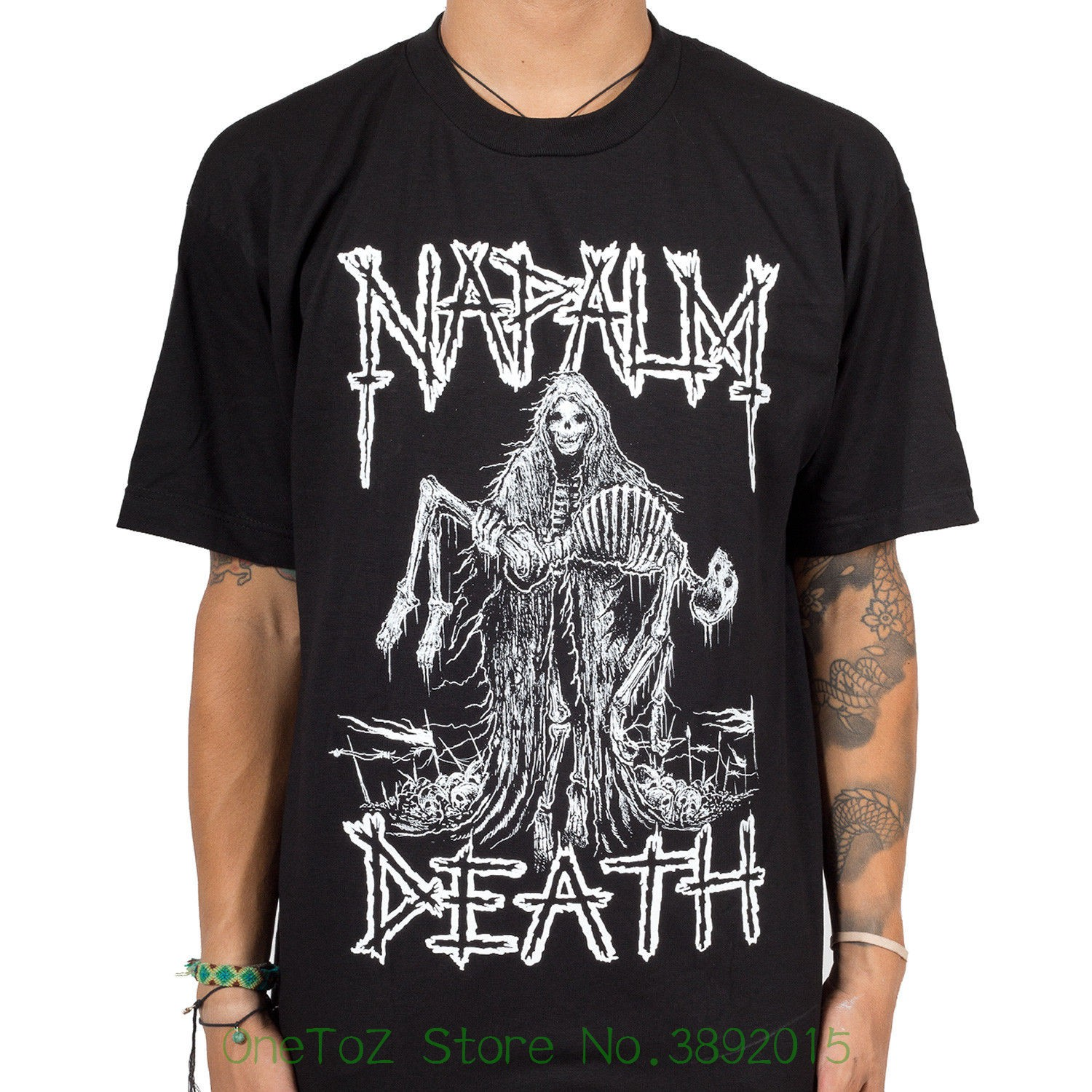 Short Sleeve Mens Formal Shirts Authentic Napalm Death Band Reaper Skeleton Metal T-shirt S - 2xl New