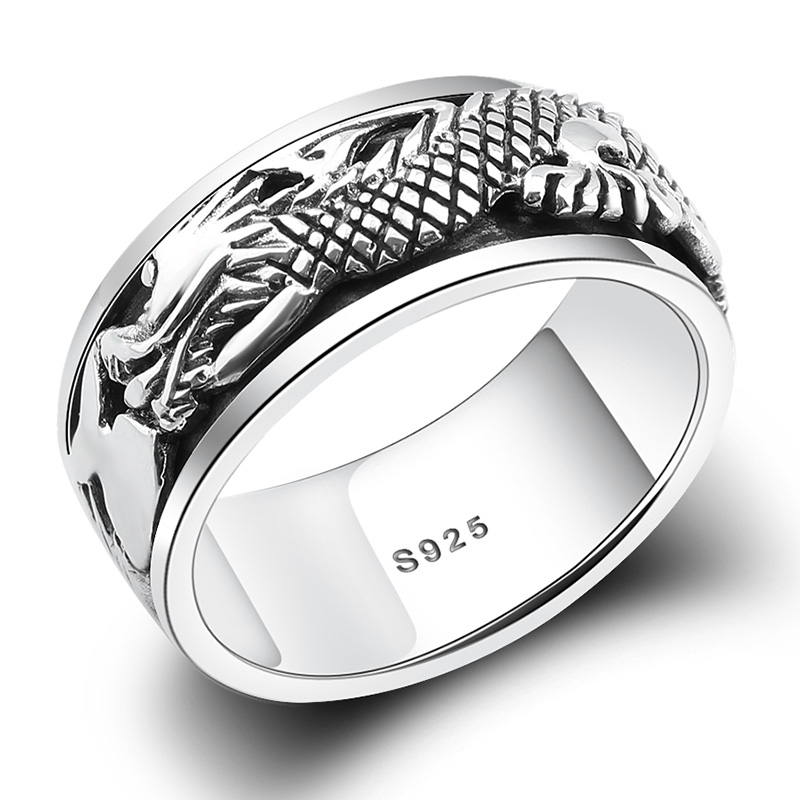Real Pure 925 Sterling Silver Dragon Rings For Men Rotatable Transfer Luck Vintage Punk Retro Style Anel Masculino Aneis temptu pro transfer asian dragon waves трансферная татуировка