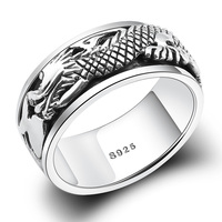925 Sterling Silver Rings For Men Dragon Brings Luck Punk Retro Style Anel Masculino Aneis Vintage