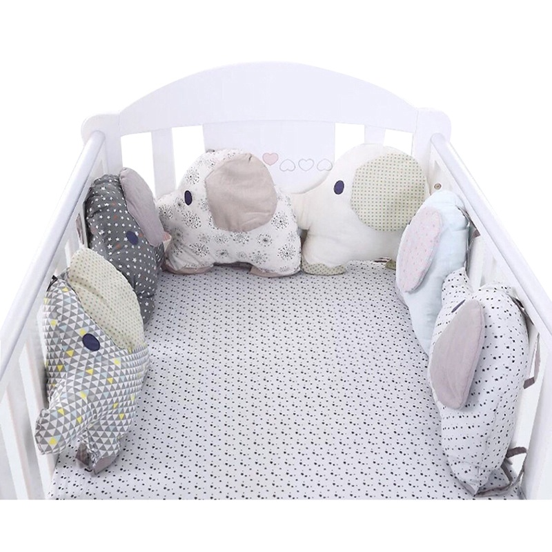 6pcs Baby Bed Crib Bumper Elephant Newborn Toy Baby Bed Protector Crib Bumper Pads Bedding Backrest