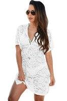 2016 Summer Beach Swimwear Lace Cover Up Pareo Bikini Tunic Plus Dress Knitted White Swimsuit Cover