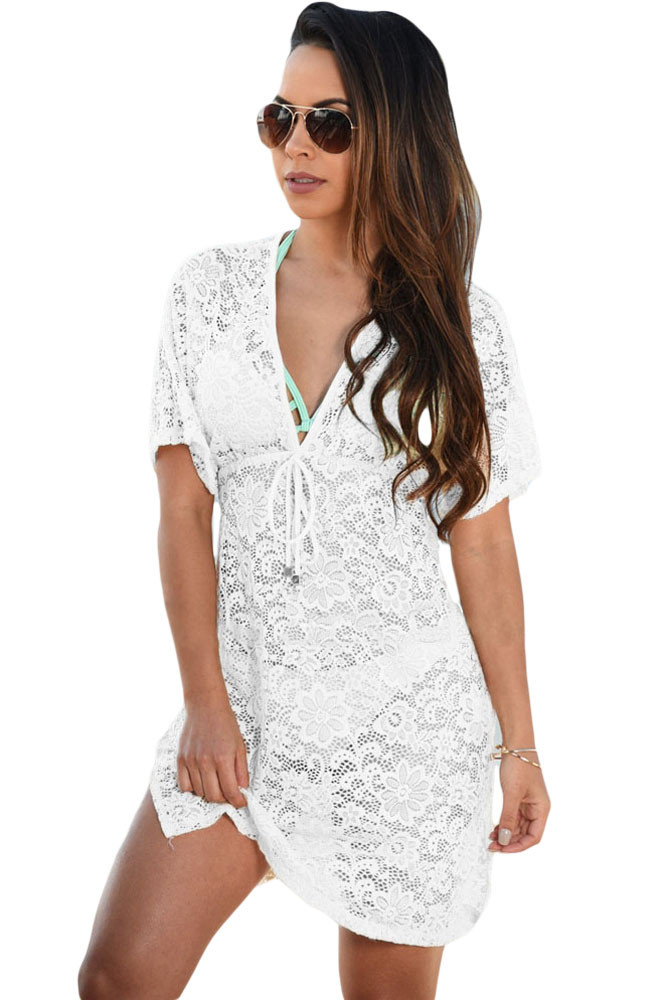 2017 summer beach swimwear lace cover up pareo bikini tunic loose dress Knitted White Swimsuit Cover Up Hollow Out Bikini Pareo faber pareo