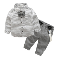 2pcs Toddler Kids Clothing Set Baby Boys Gentlemen Bowknot Shirt Suspender Pants Outfit Boys Fashion