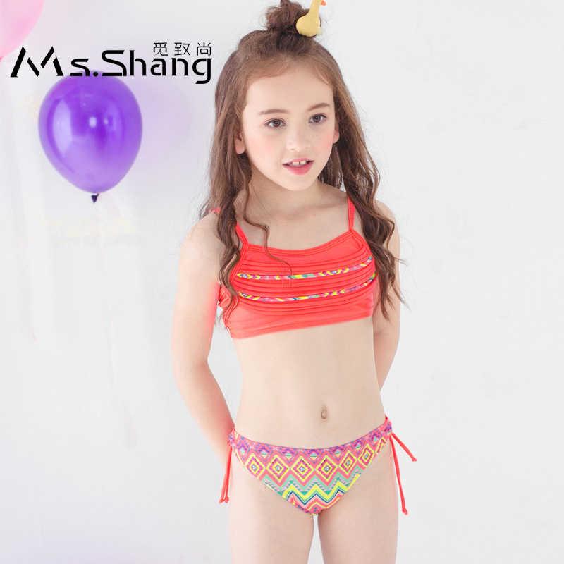 Bañador de 3 a 12 años para niña, Bikini de dos piezas, traje de baño rosa y azul para niño niña, ropa de baño 2019|Bodis|   - AliExpress