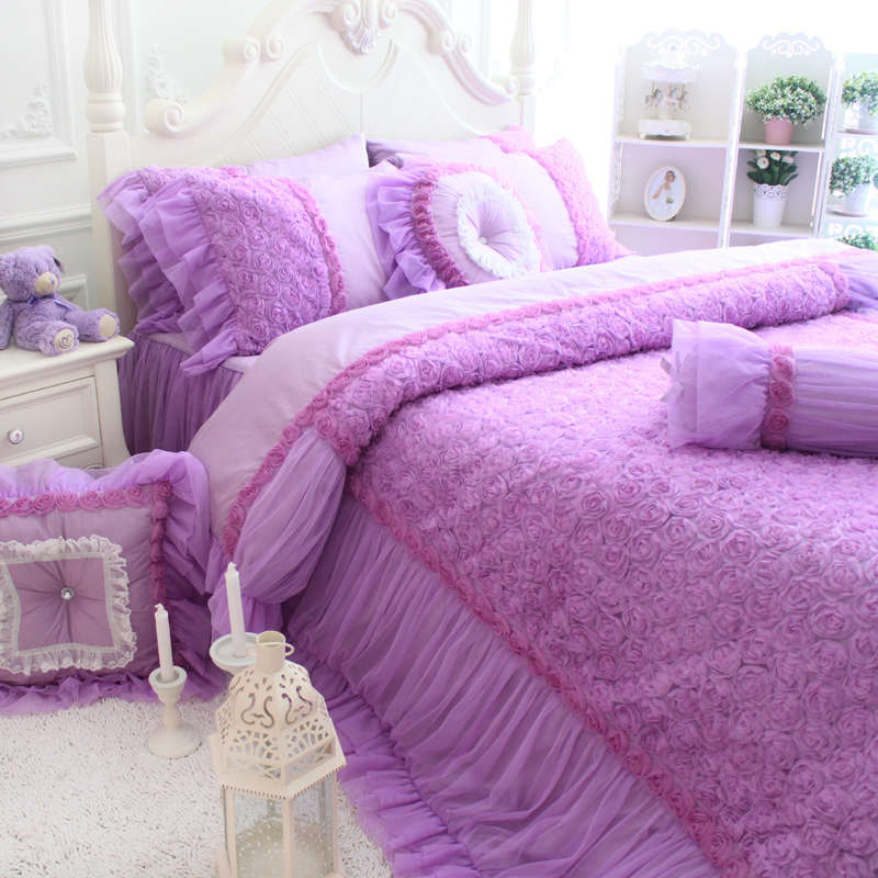 High-grade light purple single double bed on four sets 100% cotton bedding set quilt cover pillows bed skirts bundling sales