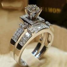 Mode Acht Hart Pijlen Zilveren Kleur Aaa Crystal Ring Set Voor Vrouwen Hoge Kwaliteit Ringen Cz Sieraden Dropshipping