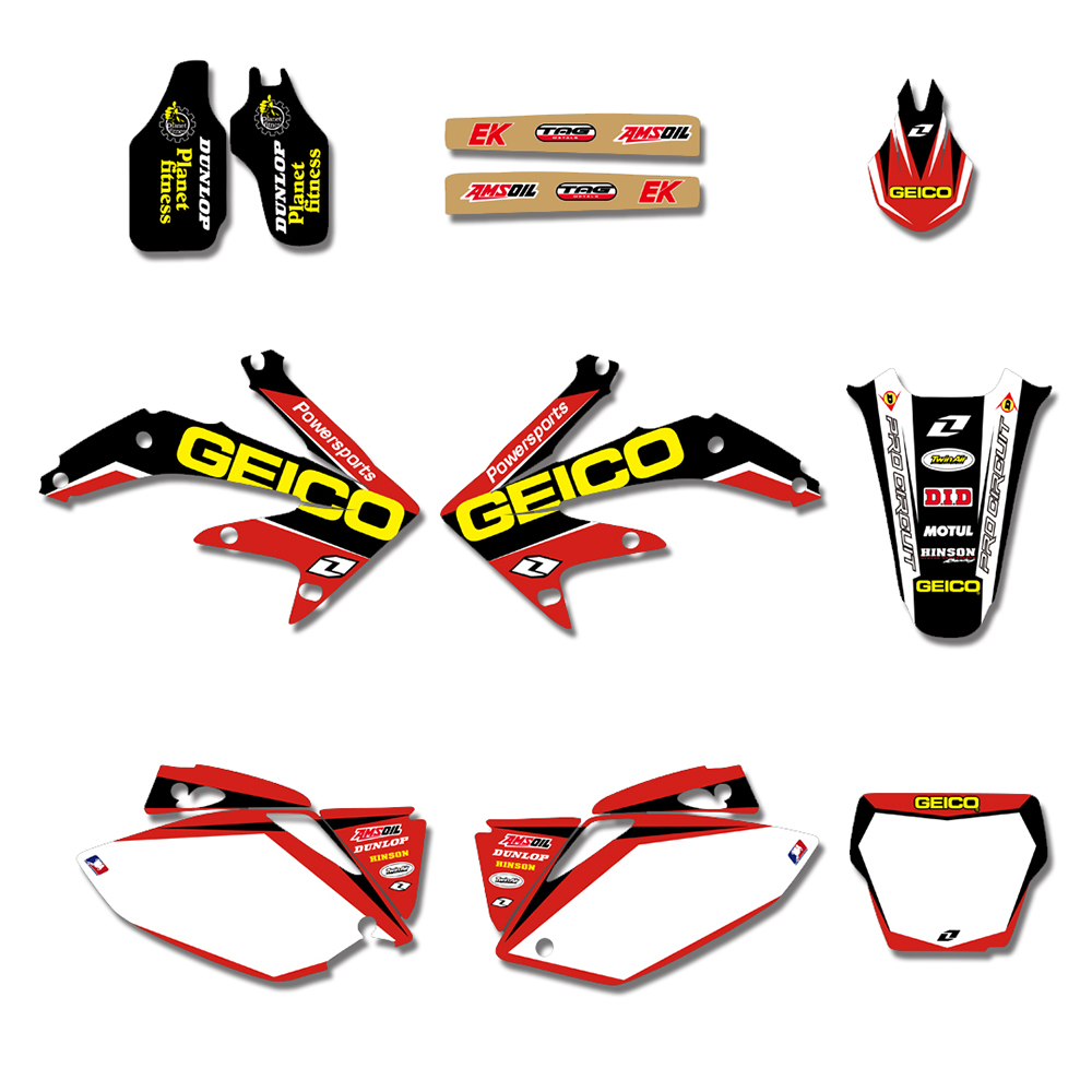 Motorcycle TEAM GRAPHIC S& BACKGROUNDS DECALS STICKERS For Honda CRF450 CRF450R 2005 2006 2007 2008 CRF 450 450R