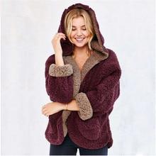 XS-XXL 2016 women's wear  both sides bat shirt College Wind wool coats lamb students plush Hoodies autumn winter warm hooded