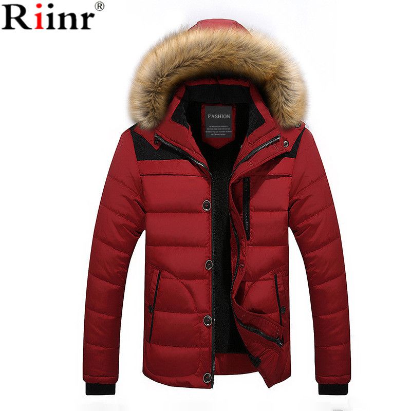 Riinr Winter Thick Warm Male Jackets Parka Hooded Casual Wadded Outerwear Fashion Faux Fur Hood Padded Quilted Men Jacket Coat new men winter jacket fashion brand clothing cotton padded down parka male thick warm comfortable outerwear coat hood detachable