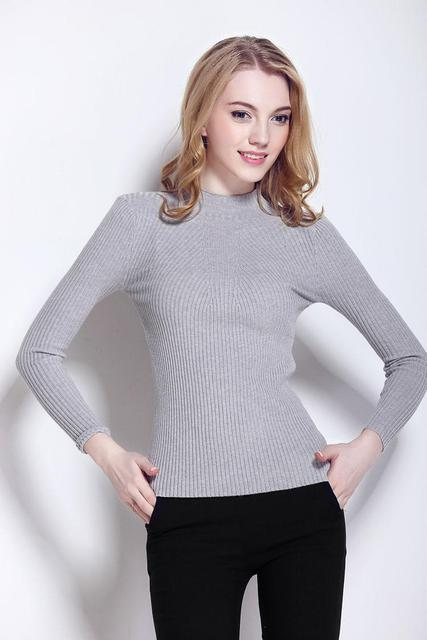 Женщины Весна Кашемир Вязаные Свитера Кашемировый Свитер Пуловеры С Длинным Рукавом половина свитер Тонкий Трикотаж