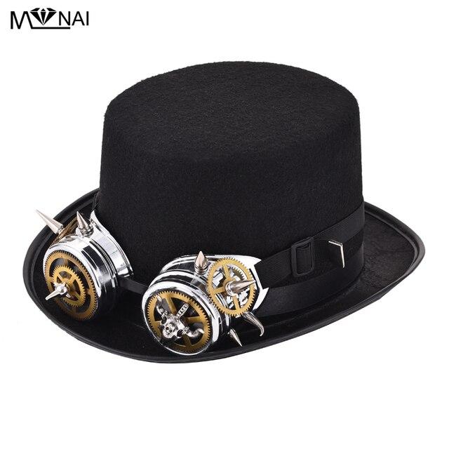 b2f948e6b53af Handmade Unique Steampunk Top Hat Vintage Fedoras Hat Lolita Cosplay Rivet  Goggles Spike Hat BLACK Gothic