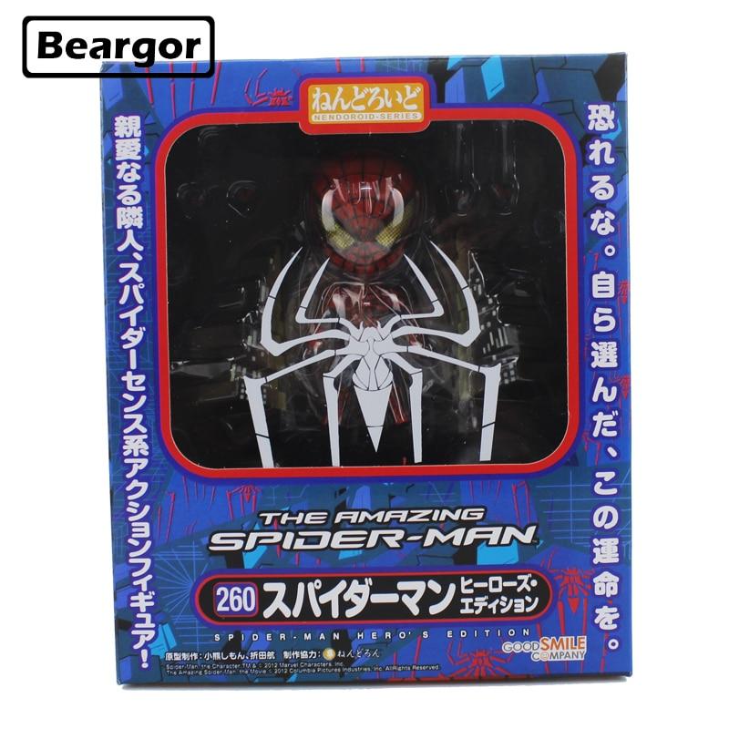 4 Marvel Super Hero Spider-Man Spider Man Spiderman #260 Boxed 10cm PVC Nendoroid Anime Action Figure Model Doll Toys Gift free shipping 11 pa kai spider man spider man boxed 28cm pvc action figure collection model doll toy gift