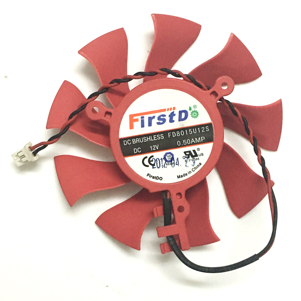 1 Pcs 75MM 39MM*3 12V 0.5A 2 Wire FD8015U12S VGA Cooler Video Card Cooling Fan Replacement For XFX HD6850 HD4860 GPU Cooling sapphire r9 370 gpu cooler video cards fan for radeon sapphire r9 370 1024sp 4g 2g v2 oc graphics card cooling