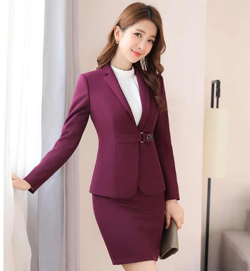on sale eb046 ae2c9 Detail Feedback Questions about Fashion Wine Uniform Styles Formal Blazers  Suits With Jackets And Skirt Ladies Office Business Work Wear Skirt Suits  Spring ...