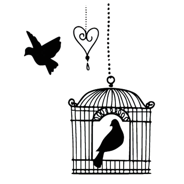 Dessin Oiseau En Cage 12.2x16cm bird on chic bird cage originality vinyl decals car