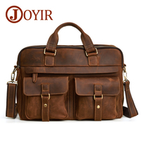 JOYIR Genuine Leather Bag Men's Briefcase Leather Laptop Bag Business Computer Shoulder Bag Crossbody Messenger Handbag Male Bag
