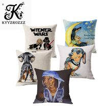Dachshund Dog Cushion Covers Keep Calm and Hug A Dachshund Pillow Covers 45X45cm Bedroom Sofa Decoration(China)