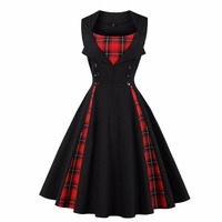 2018 Women Plus Size Dress Summer Vintage Sleeveless Red Black Plaid Patchwork Button Rockabilly Party Sexy