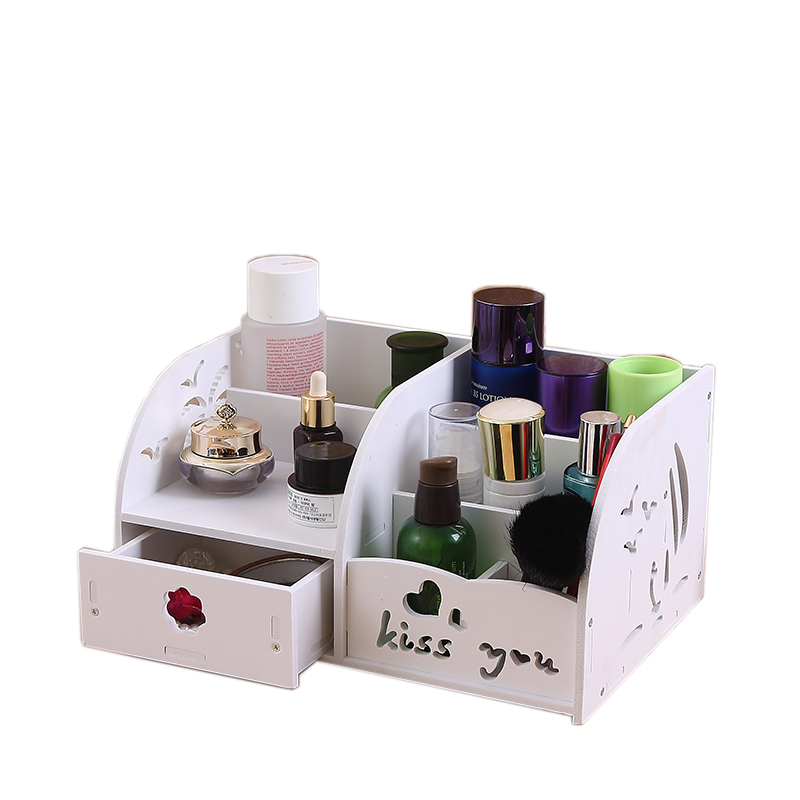 Environmental pvc Container Jewelry Makeup Organizer Case Wood Storage Box DIY Handmade Cosmetic Organizer Office Wooden Box