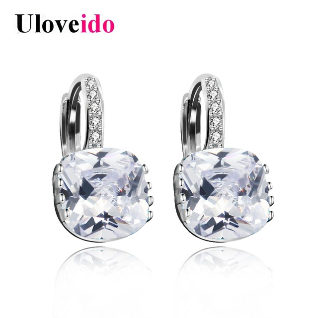 Uloveido White Costume Jewelry Women S Earrings With Stones Stud Earings Cubic Zirconia Zircon Brincos Earring Woman