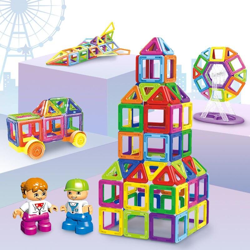 Mini Magnétique Blocs 96 pcs 168 pcs 228 pcs Instruction Autocollant BRICOLAGE Blocs Animaux Robot Bâtiment Voiture Jouet Éducatif Pour enfants