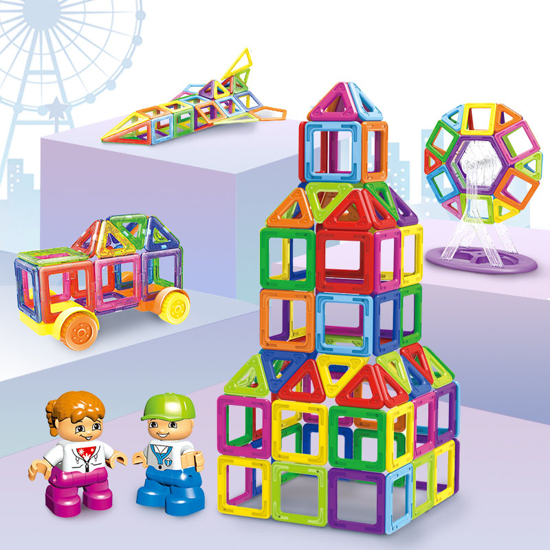 Mini Magnetic Blocks 96PCS 168PCS 228PCS Instruction Sticker DIY Blocks Animals Robot Building Car Educational Toy For Children