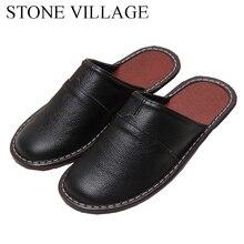 Alta qualidade novo couro genuíno casa chinelos primavera e outono indoor floor shoes casal grosso antiderrapante chinelos das mulheres dos homens