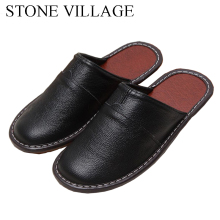 High Quality New Genuine Leather Home Slippers Spring And Autumn  Indoor Floor Shoes Couple Thick Non Slip  Men Women Slippers