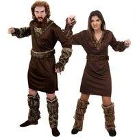 ADULT VIKING MAN WOMEN COSTUME NORDIC WARRIOR HISTORICAL MEDIEVAL FANCY DRESS