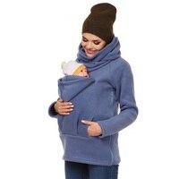 Autumn and Winter Multi functional Kangaroo Hoodies Women's Long sleeved Keep Warm Jackets Big Pocket Hug Baby Sweatshirts