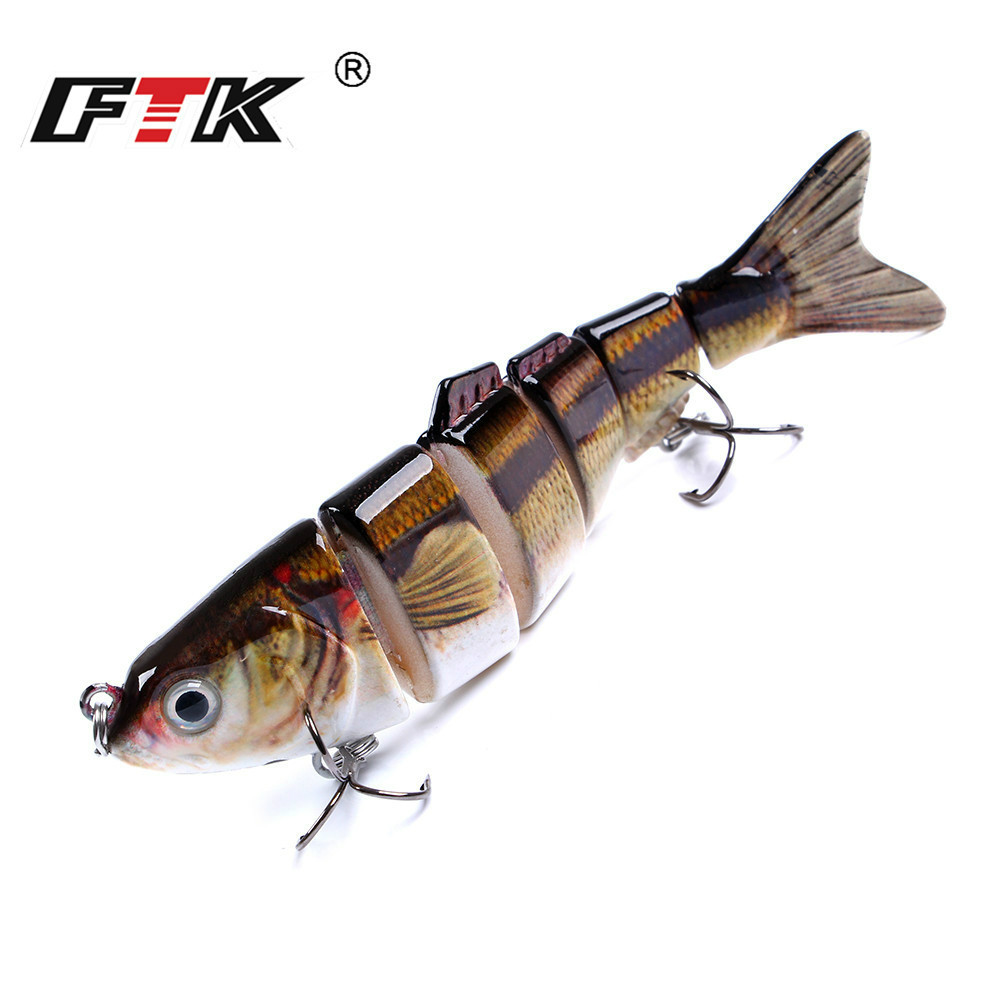 FTK 22g 6 Segment Minnow Hard Bait Wobblers For Trolling Crankbaits 12cm Bass Jerkbait Multi Jointed Swimbait Fishing Lure in Fishing Lures from Sports Entertainment