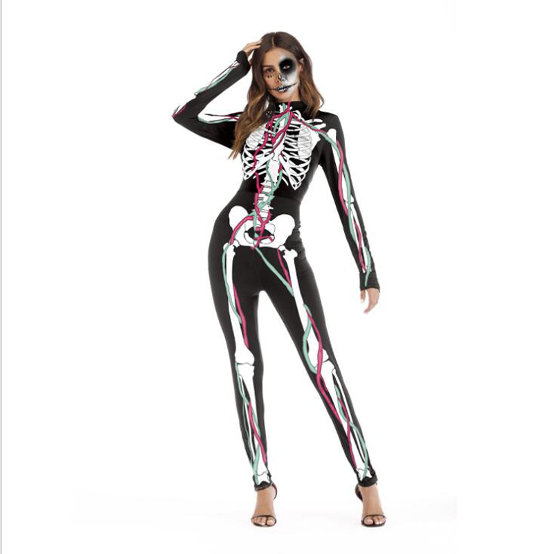 2018 New Women Sexy Bodysuits Scary Halloween Costumes For Women Skeleton Skull 3D Printed Skinny Jumpsuit Party Cosplay Horror